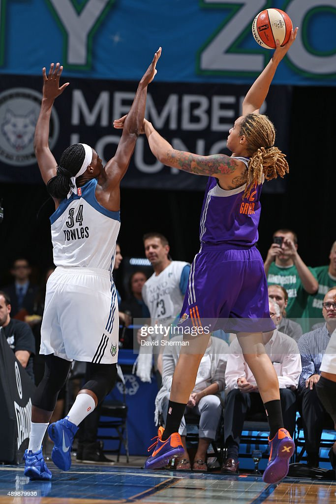 Brittney Griner of the Phoenix Mercury shoots the ball against the Minnesota Lynx during Game One of the WNBA Western Conference Finals on September...
