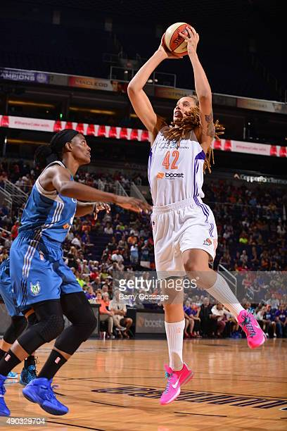 Brittney Griner of the Phoenix Mercury shoots the ball against the Minnesota Lynx during the WNBA Playoffs Western Conference Finals Game 2 on...