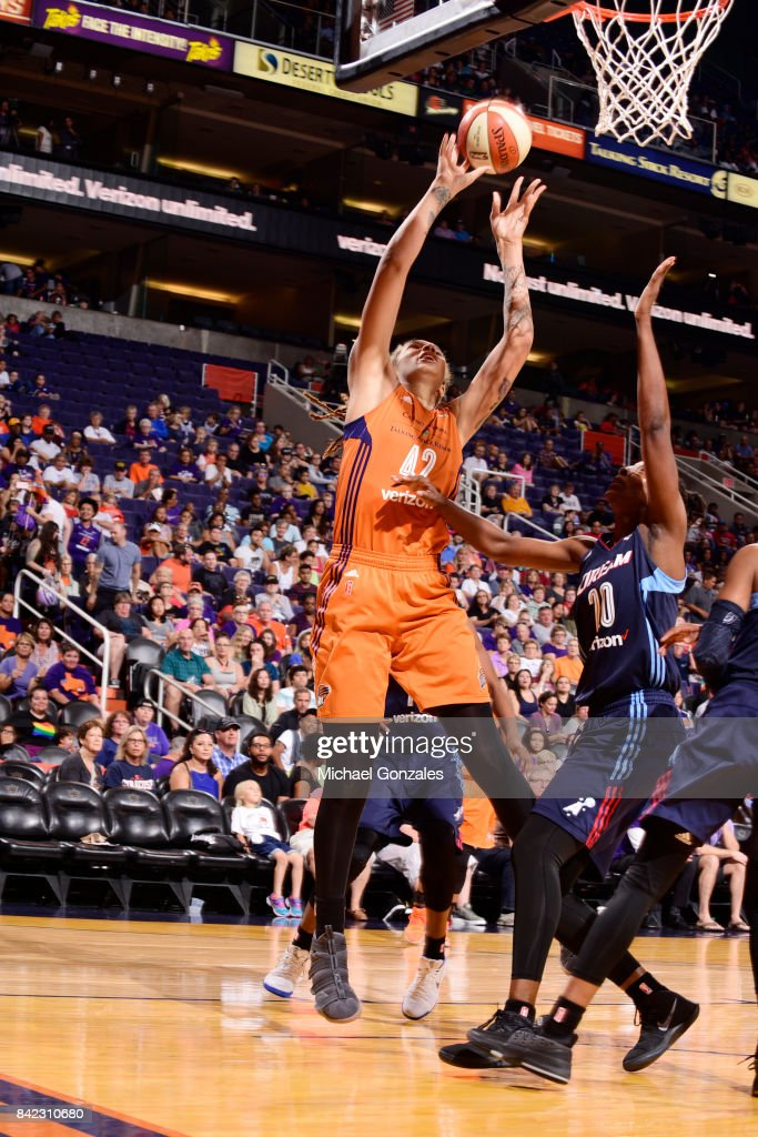 Brittney Griner #42 of the Phoenix Mercury shoots the ball against the Atlanta Dream on September 3, 2017 at Talking Stick Resort Arena in Phoenix, Arizona.