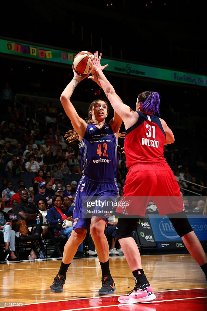 Brittney Griner #42 of the Phoenix Mercury shoots the ball during the game against Stefanie Dolson #31 of the Washington Mystics during a WNBA game on June 24, 2016 at Verizon Center in Washington, DC.