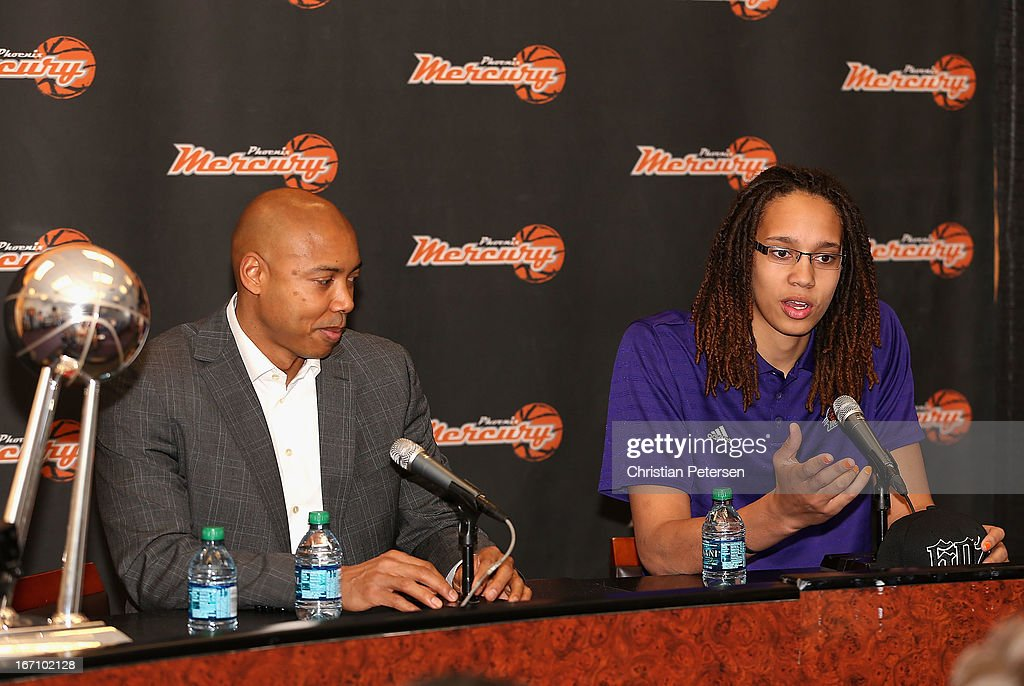 Brittney Griner of the Phoenix Mercury speaks, alongside head coach Corey Gaines, during a press conference after being selected as the first pick in the 2013 WNBA Draft at US Airways Center on April 20, 2013 in Phoenix, Arizona.