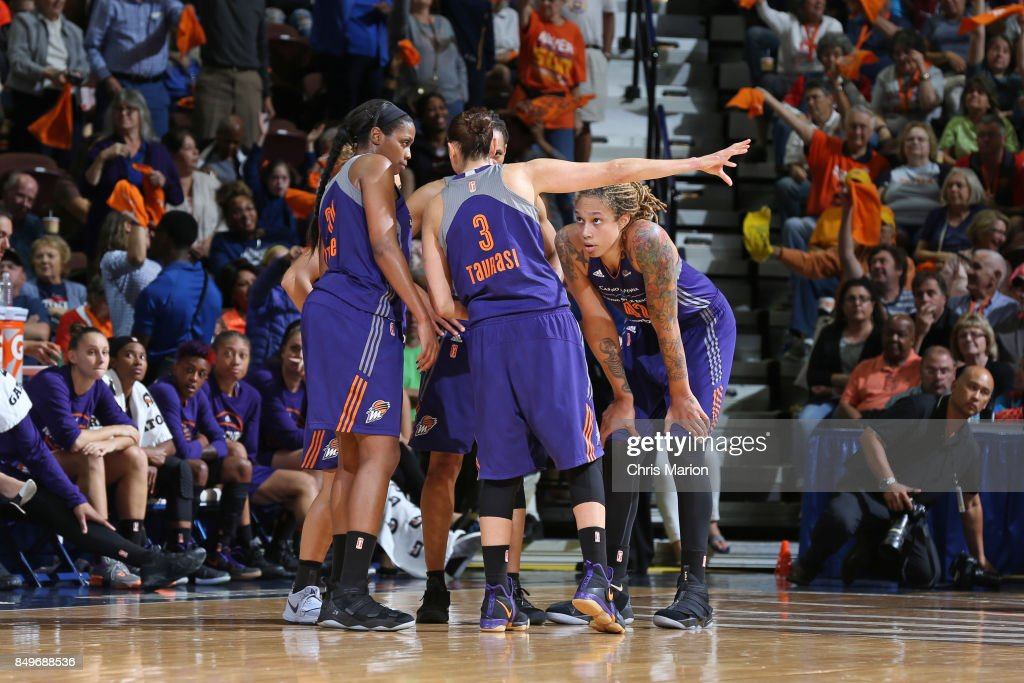 Brittney Griner #42 of the Phoenix Mercury with teammates huddle during the game against the Connecticut Sun in Round Two of the 2017 WNBA Playoffs on September 10, 2017 at Mohegan Sun Arena in Uncasville, CT.