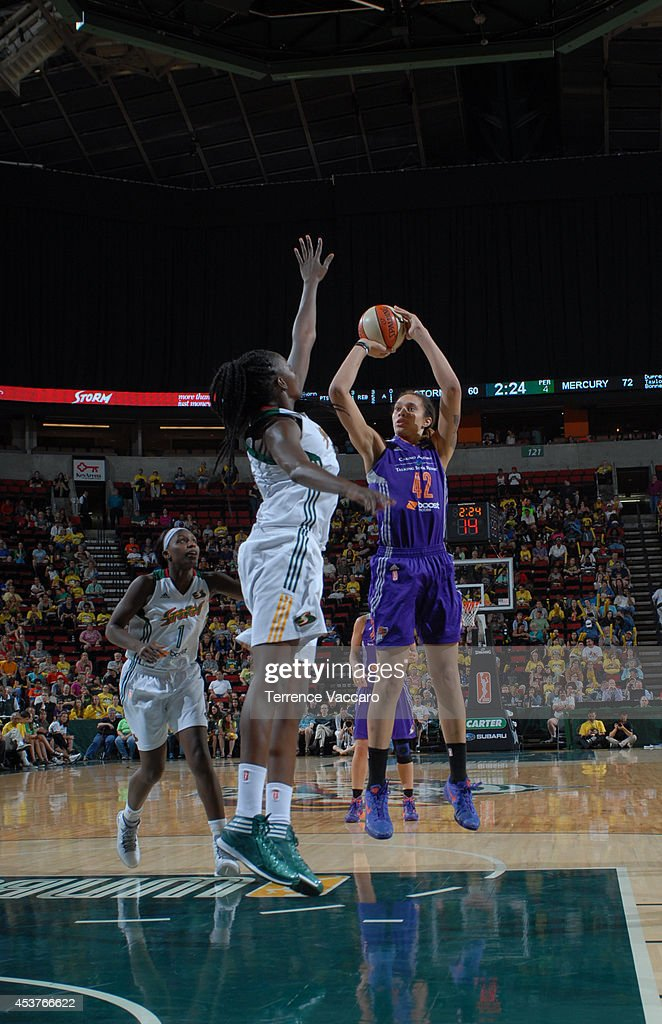 Brittney Griner #42 of the Phoenix Suns shoots the ball against the Seattle Storm during the game on August 17, 2014 at Key Arena in Seattle, Washington.