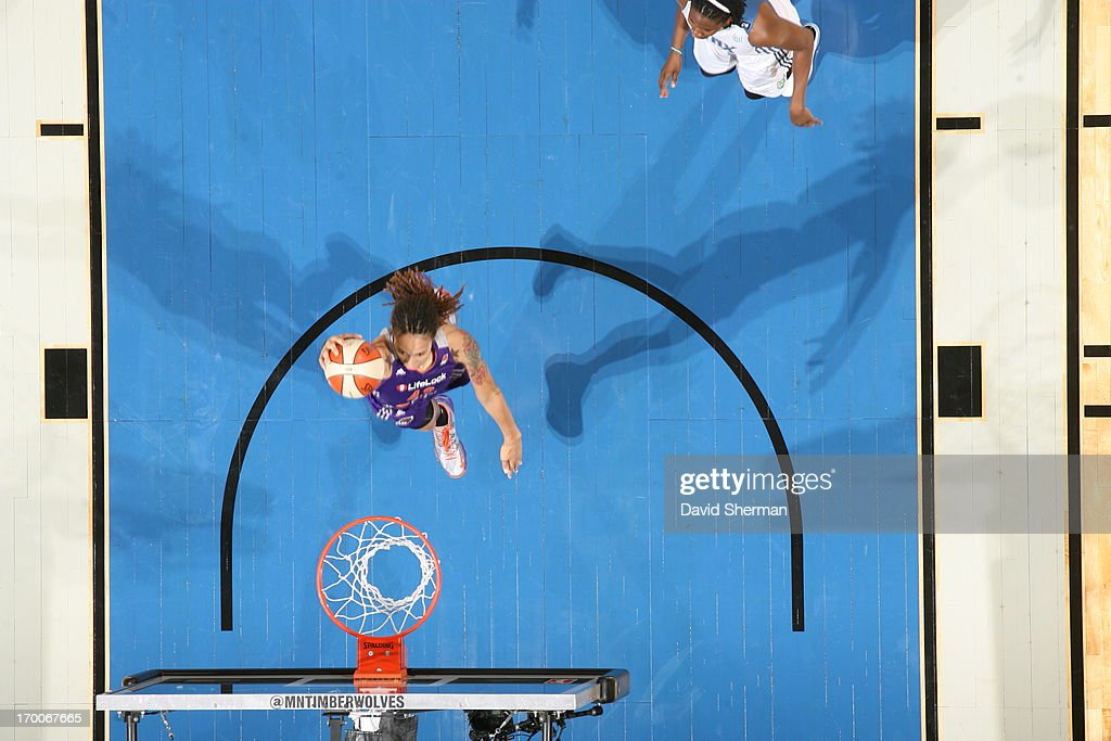Brittney Griner #42 of the the Phoenix Mercury attempts to dunk against the Minnesota Lynx during the WNBA game on June 6, 2013 at Target Center in Minneapolis, Minnesota.