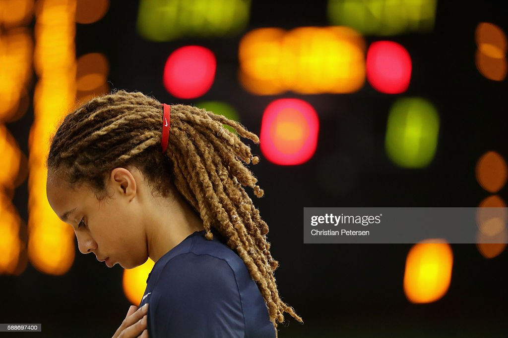 Brittney Griner of United States stands attended for the national anthem before the women's basketball game against Canada on Day 7 of the Rio 2016...