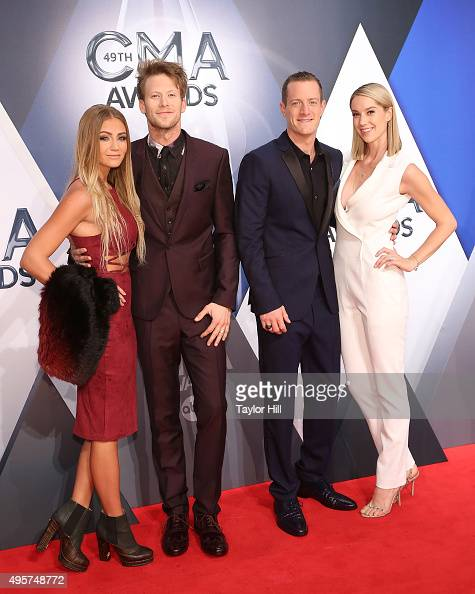 Brittney Marie Cole musicians Brian Kelley Tyler Hubbard of Florida Georgia Line and Hayley Stommel attend the 49th annual CMA Awards at the...