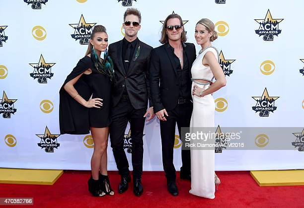 Brittney Marie Cole recording artists Brian Kelley and Tyler Hubbard of the music group Florida Georgia Line and Hayley Stommel attend the 50th...