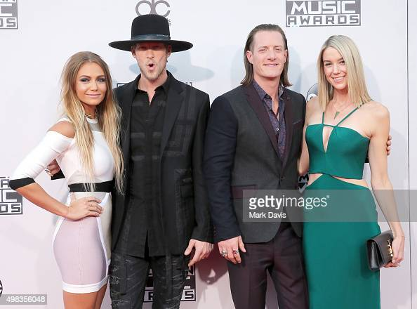 Brittney Marie Cole recording artists Brian Kelley and Tyler Hubbard of Florida Georgia Line and Hayley Stommel attend the 2015 American Music Awards...