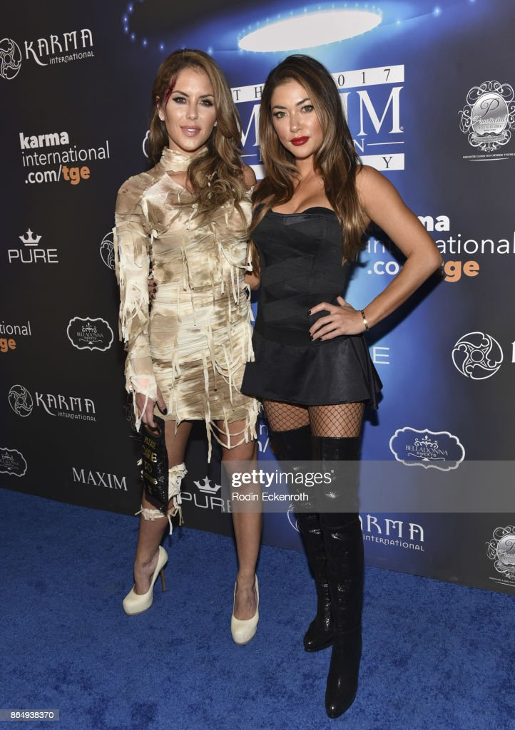 Brittney Palmer (L), and Arianny Celeste arrive at the 2017 MAXIM Halloween Party at LA Center Studios on October 21, 2017 in Los Angeles, California.