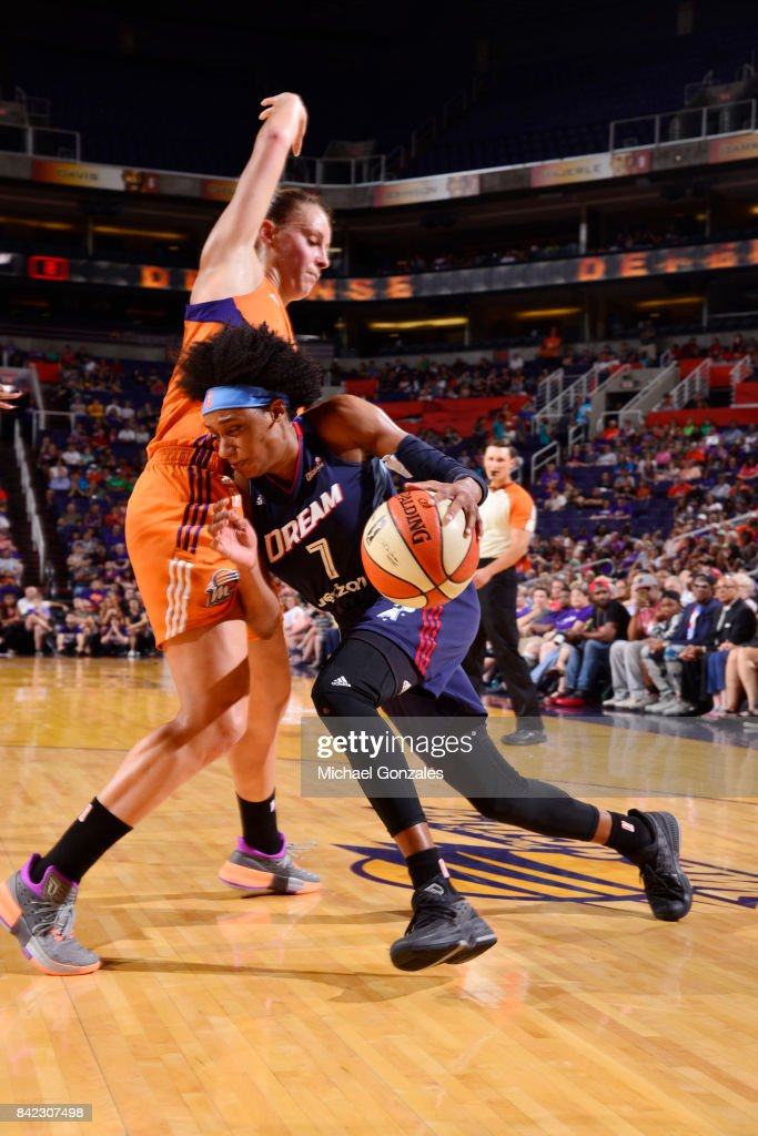 Brittney Sykes #7 of the Atlanta Dream drives to the basket against the Phoenix Mercury on September 3, 2017 at Talking Stick Resort Arena in Phoenix, Arizona.