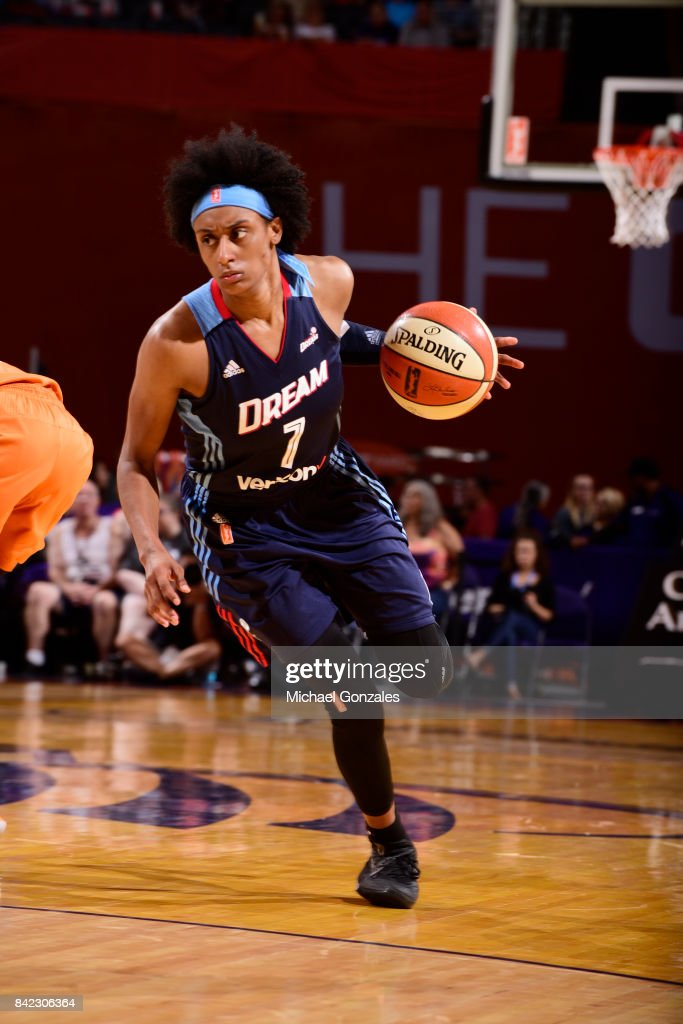 Brittney Sykes #7 of the Atlanta Dream handles the ball against the Phoenix Mercury on September 3, 2017 at Talking Stick Resort Arena in Phoenix, Arizona.