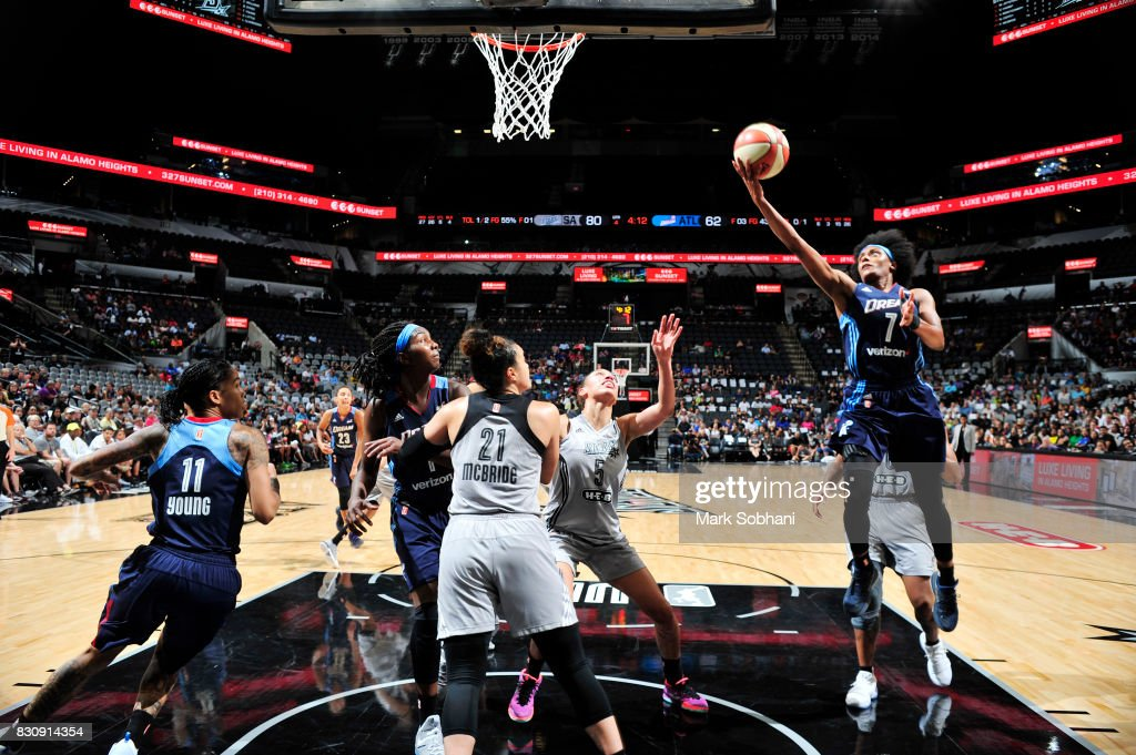 Brittney Sykes #7 of the Atlanta Dream shoots the ball against the San Antonio Stars on August 12, 2017 at the AT&T Center in San Antonio, Texas.