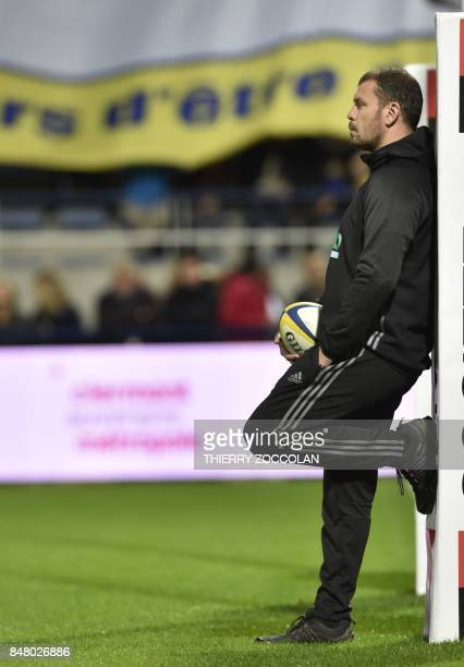 Brive's French manager Nicolas Godignon looks on during the French Top 14 rugby union match between ASM Clermont and CA Brive at Michelin stadium in...