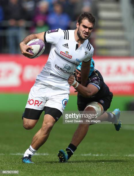 Brive's Gaetan Germain is tackled by Bath's Zach Mercer during the European Challenge Cup quarter final at the Recreation Ground Bath