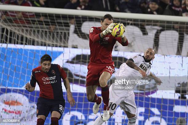 Brkic Zeljko of Cagliari in action during the Serie A match between Cagliari Calcio and US Sassuolo Calcio at Stadio Sant'Elia on January 24 2015 in...