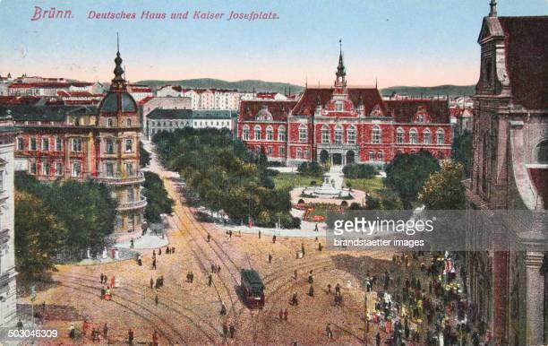 Brno Deutsches Haus and Kaiser Josef Platz 1918 Color picture postcard