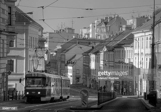 Brno old town street architecture and tram 5