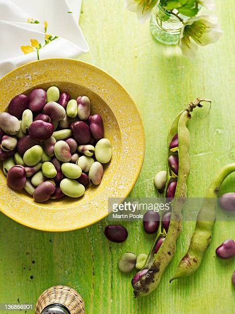 broad beans in a bowl over head