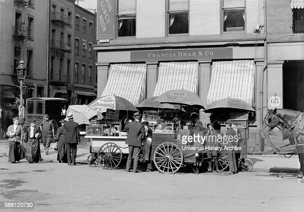 Broad Street Lunch Carts New York City USA circa 1905