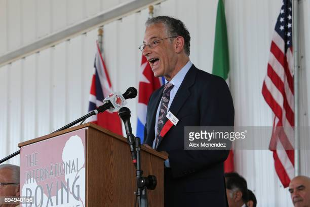 Broadcast announcer Steve Farhood speaks during the International Boxing Hall of Fame induction Weekend of Champions event on June 11 2017 in...