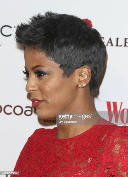 Broadcast journalist Tamron Hall hair detail attends the 14th annual Woman's Day Red Dress Awards at Jazz at Lincoln Center on February 7 2017 in New...