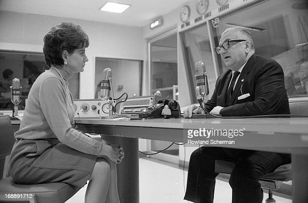 Broadcast journalists Barbara Walters interviews author Harry Golden for NBC radio New York New York 1966 They discuss Golden's book 'The Death of a...