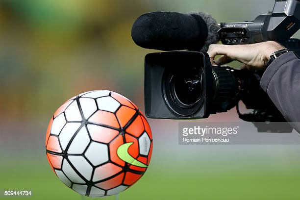 Broadcast television camera films a ball before the French Cup match between FC Girondins de Bordeaux and FC Nantes at Stade Matmut Atlantique at...