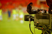 TV camera in soccer stadium
