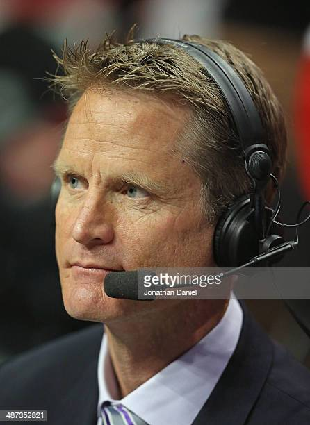 Broadcaster and former NBA player Steve Kerr rumored to be a candidate for the New York Knicks head coaching job works the game between the Chicago...