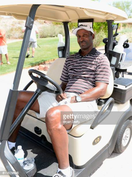 Broadcaster and former professional basketball player Eddie Johnson attends the Coach Woodson Las Vegas Invitational at Cascata Golf Club on July 9...
