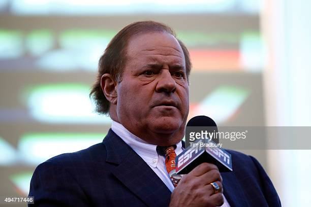 Broadcaster Chris Berman of ESPN is seen on the field before Game Two of the 2015 World Series between the Kansas City Royals and the New York Mets...