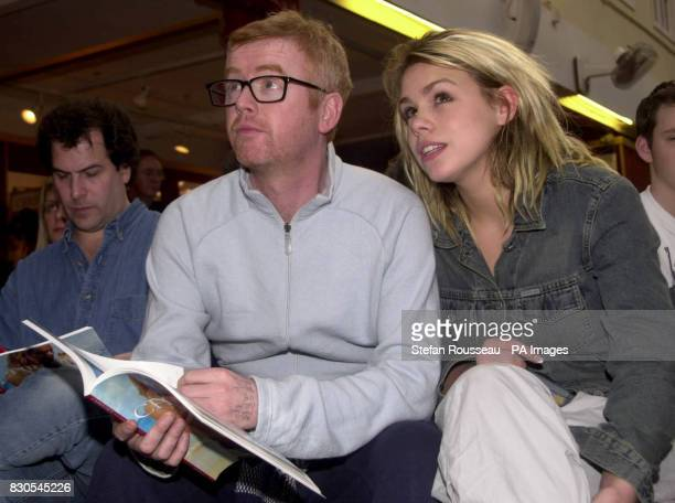 Broadcaster Chris Evans and pop singer Billie Piper during the largest ever auction of props and costumes used in 007 movies at Christie's in London...