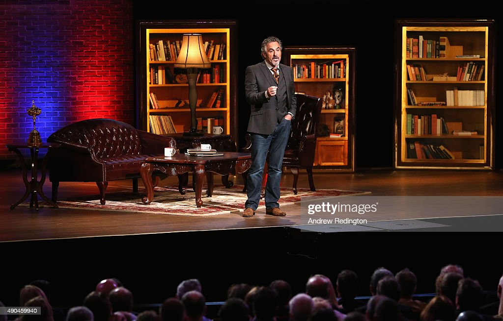Broadcaster David Feherty is pictured during the 2016 Ryder Cup Captains' Fireside Chat hosted by David Feherty at the Orpheum Theatre on September...
