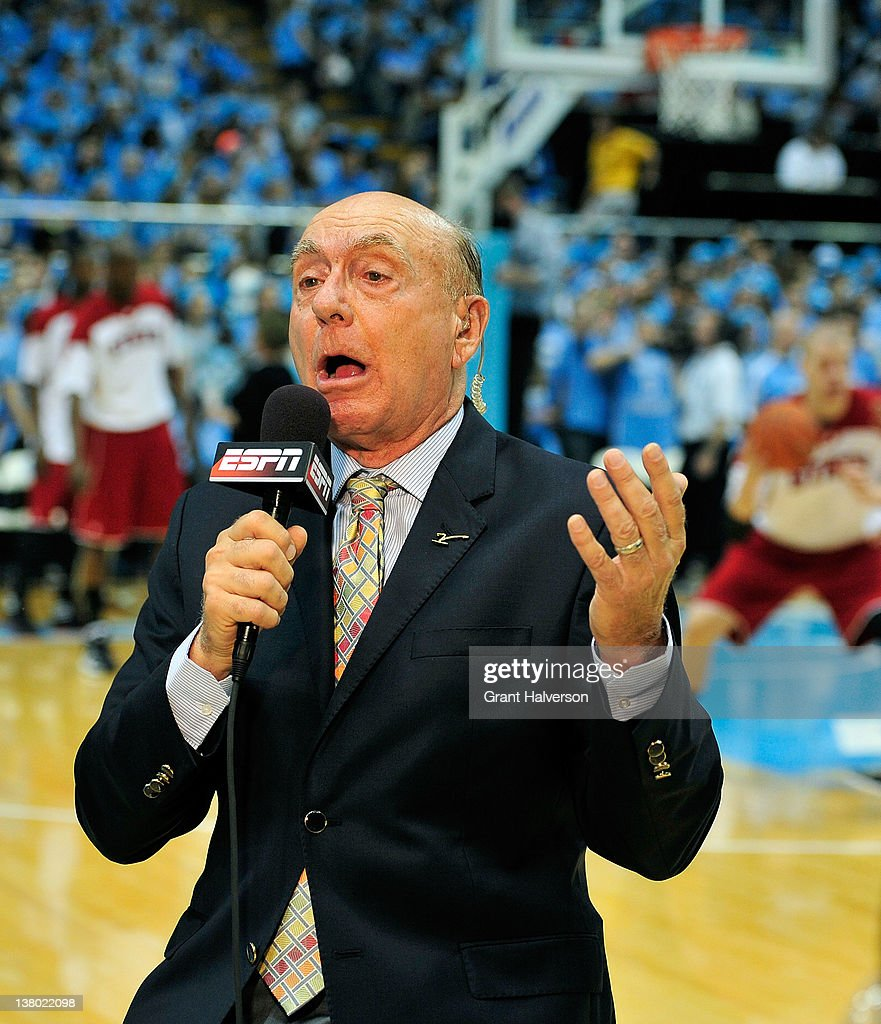 ESPN broadcaster <a gi-track='captionPersonalityLinkClicked' href=/galleries/search?phrase=Dick+Vitale&family=editorial&specificpeople=730924 ng-click='$event.stopPropagation()'>Dick Vitale</a> does a live broadcast before a game between the North Carolina Tar Heels and the North Carolina State Wolfpack at the Dean Smith Center on January 26, 2012 in Chapel Hill, North Carolina. North Carolina won 74-55.