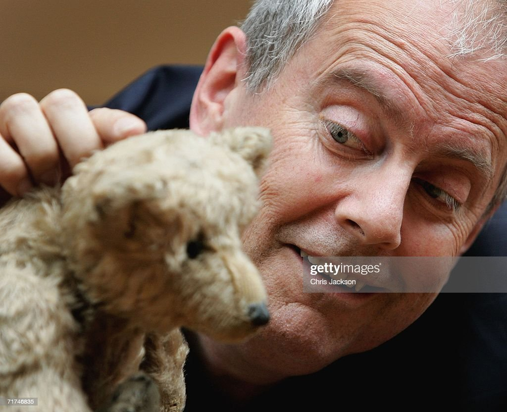 Broadcaster Giles Brandreth poses with Growler a Steiff Bear circa 1904 that forms part of the collection from the world's oldest Teddy Bear Museum...