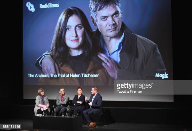 Broadcaster Gillian Reynolds actor Tim Watson actress Louiza Patikas and producer Sean O'Connor speak on stage during the panel discussion about 'The...