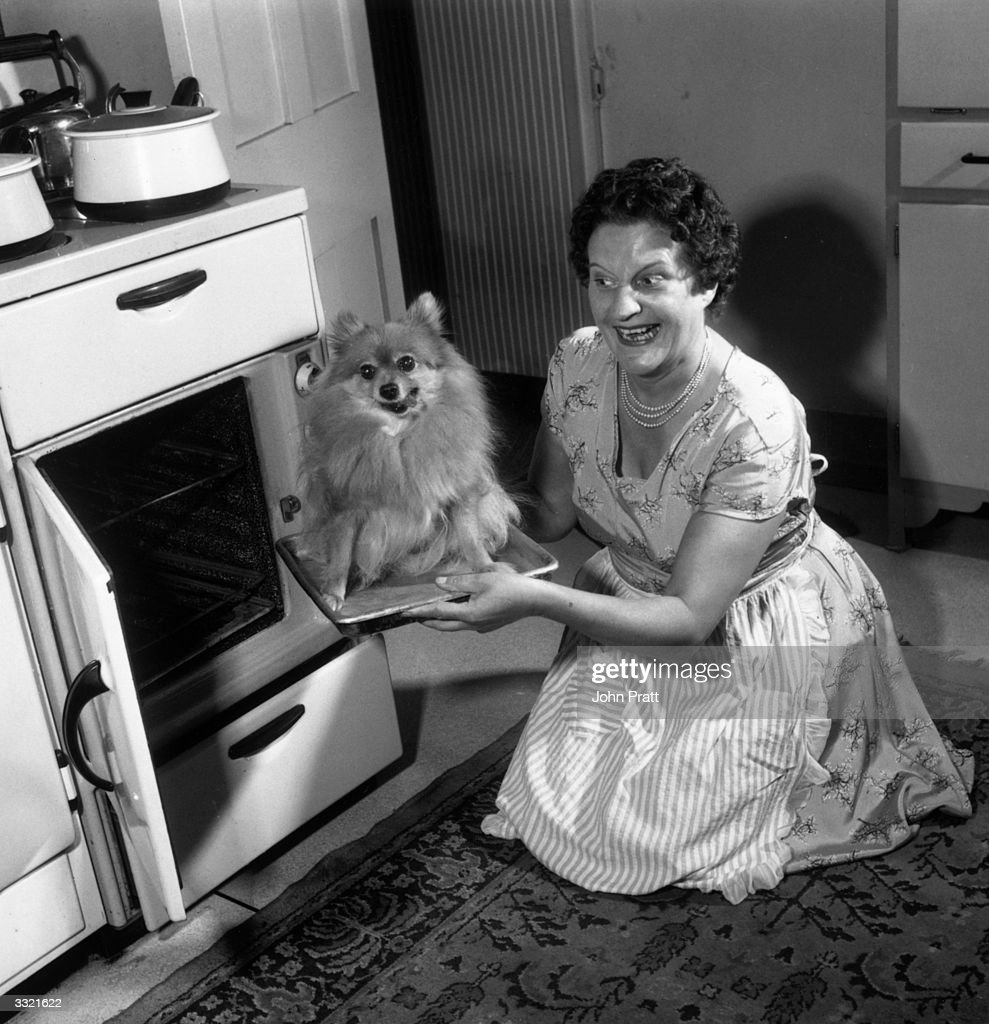 Broadcaster Jill Summers of the television show 'Summer's Here' puts her pet Pomeranian dog Bonnie in the oven on a tray