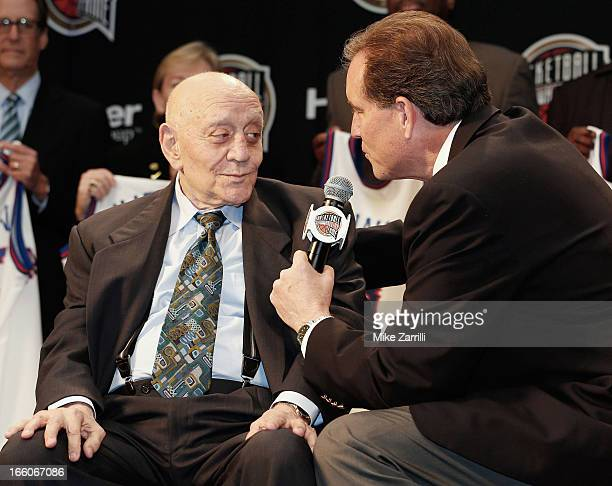 CBS broadcaster Jim Nantz talks to former college basketball coach Jerry Tarkanian during the Naismith Memorial Basketball Hall of Fame announcement...