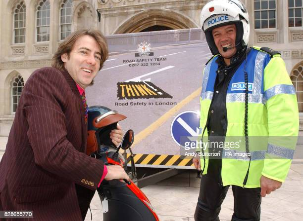 Broadcaster Jonathan Ross and and police motorcyclist Fred Moffett during a photocall to launch the City of London ScooterSafe Initiative * a road...