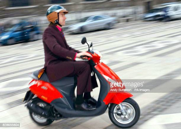 Broadcaster Jonathan Ross on a nippy Piaggio Zip 4T during a photocall to launch the City of London ScooterSafe Initiative a road awareness...
