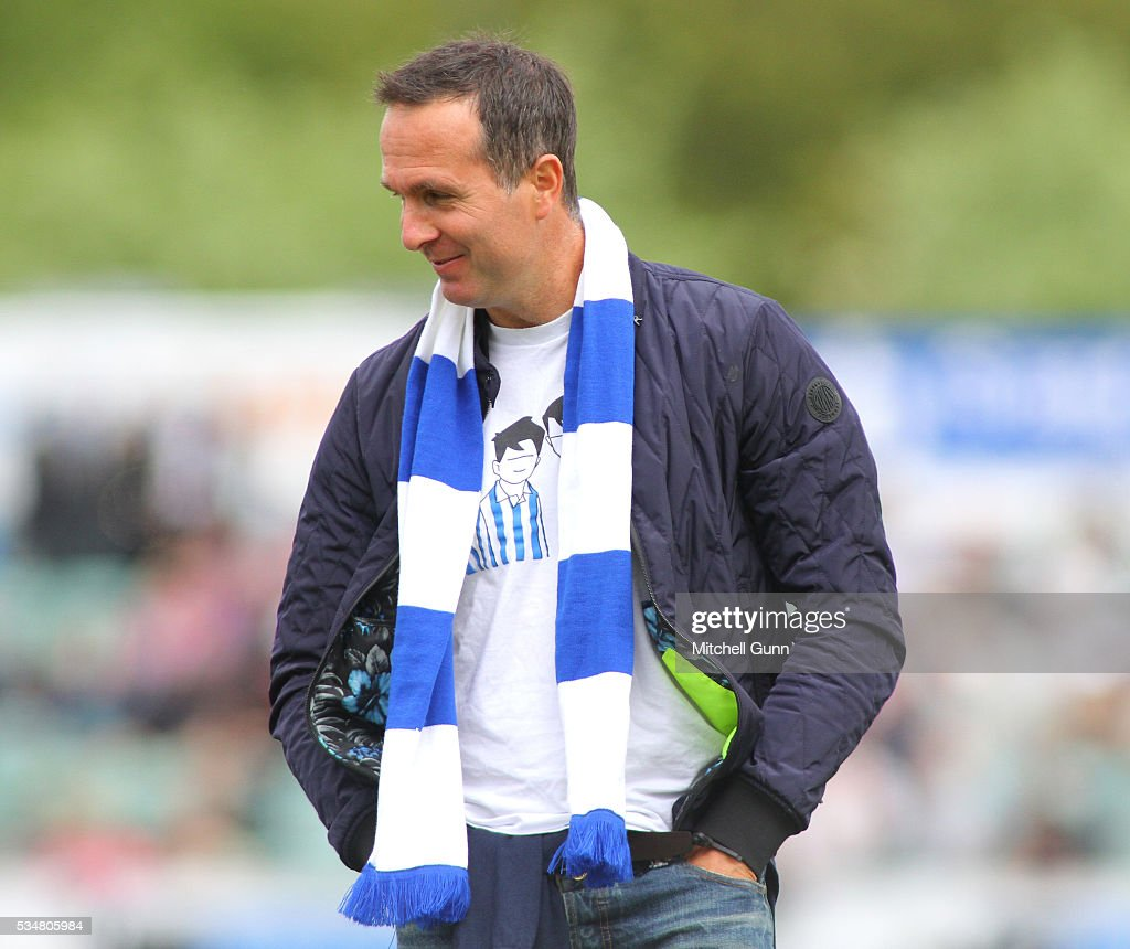 Broadcaster <a gi-track='captionPersonalityLinkClicked' href=/galleries/search?phrase=Michael+Vaughan&family=editorial&specificpeople=179446 ng-click='$event.stopPropagation()'>Michael Vaughan</a> sporting Sheffield Wednesday colours during day two of the 2nd Investec Test match between England and Sri Lanka at Emirates Durham ICG on May 28, 2016 in Chester-le-Street, United Kingdom.
