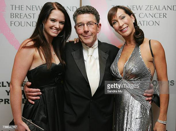 Broadcaster Paul Holmes with dancing with the stars cohost Candy Lane and dancer Rebecca Nicholson arrive at the Pearl Of The Pacific Charity Gala...