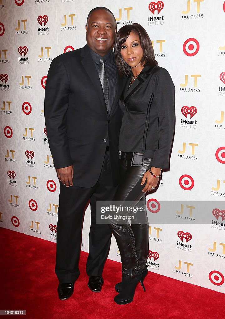 Broadcaster <a gi-track='captionPersonalityLinkClicked' href=/galleries/search?phrase=Rodney+Peete&family=editorial&specificpeople=220342 ng-click='$event.stopPropagation()'>Rodney Peete</a> (L) and wife actress <a gi-track='captionPersonalityLinkClicked' href=/galleries/search?phrase=Holly+Robinson+Peete&family=editorial&specificpeople=213716 ng-click='$event.stopPropagation()'>Holly Robinson Peete</a> attend the iHeartRadio '20/20' album release party with Justin Timberlake presented by Target at the El Rey Theatre on March 18, 2013 in Los Angeles, California.