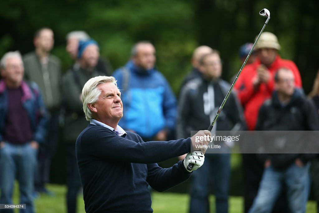 Broadcaster Steve Rider tees off during the Pro-Am prior to the BMW PGA Championship at Wentworth on May 25, 2016 in Virginia Water, England.