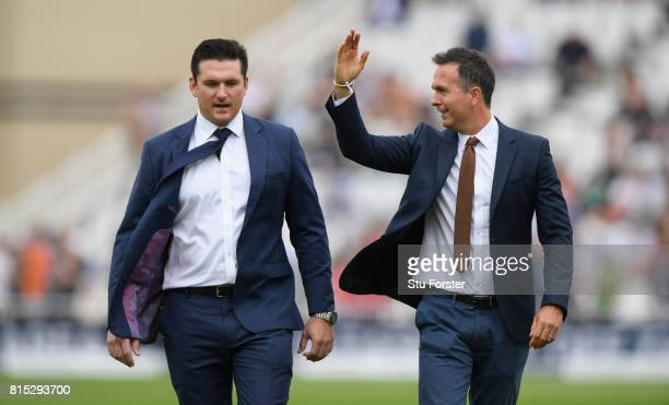 Broadcasters and former captains Graeme Smith and Michael Vaughan chat before day three of the 2nd Investec Test match between England and South...