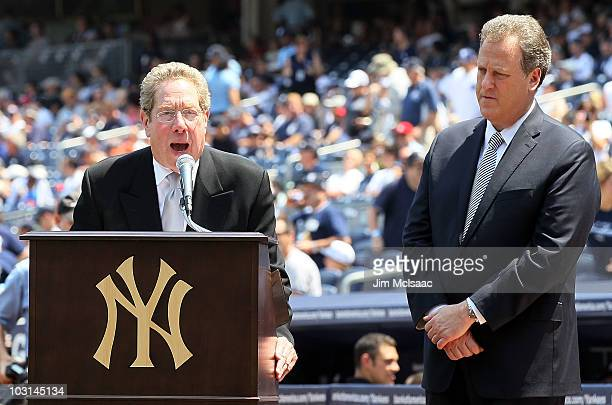 Broadcasters John Sterling and Michael Kay of the New York Yankees introduce the players during the teams 64th OldTimer's Day before the MLB game...