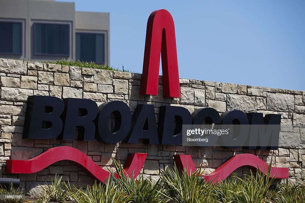 Broadcom Corp. signage is displayed outside of the company's headquarters in Irvine, California, U.S., on Friday, April 12, 2013. Broadcom Corp. designs, develops, and supplies integrated circuits for cable set-top boxes, cable modems, high-speed networking, direct satellite and digital broadcast, and digital subscriber line. Photographer: Patrick Fallon/Bloomberg via Getty Images