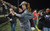 Broadneck F Brianna Harris hugs her Dad Rob Harris the Broadneck football coach after she scored the game winning goal in overtime during the...