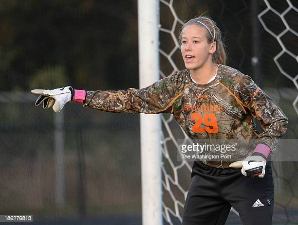 Broadneck goalie Kendall Salvas shouts instructions to her teammates during the Maryland High School 4A East girls' soccer quarterfinal game between...