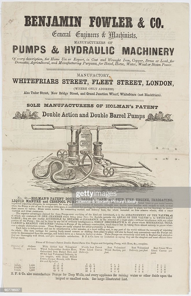 Broadsheet letterpress with wood block illustrations of General Engineers Machinists B Fowler Co Fleet Street London Depicted is Holman's Patent...